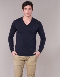 Clothing Men jumpers Gant WEIGHT COTTON V NECK MARINE