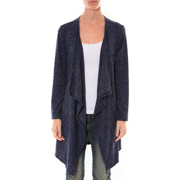 Clothing Women Jackets / Cardigans Barcelona Moda Cardigan Long Fashion Moda Bleu Blue