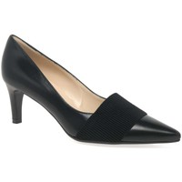 Heels Peter Kaiser Beka Womens Black Leather Pointed Court Shoes