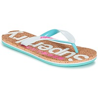 Shoes Women Flip flops Superdry CORK COLOUR POP FLIP FLOP White / Pink / Blue