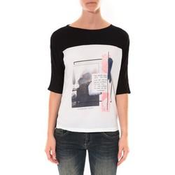 Clothing Women Long sleeved tee-shirts Coquelicot Tee shirt  Noir & Blanc 16409 Black