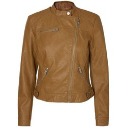 Clothing Women Leather jackets / Imitation leather Vero Moda - VMLINA Short Women's Faux Leather Biker Jacket Brown
