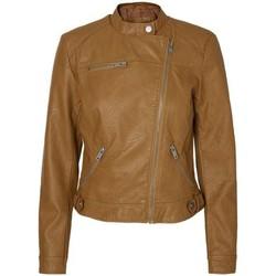 Clothing Women Leather jackets / Imitation leather Vero Moda - VMLINA Short Women's Faux Leather Biker Jacket Brown