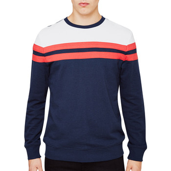 Clothing Men jumpers The Idle Man Contrast Stripe Sweatshirt Navy Blue
