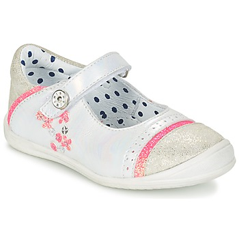 Shoes Girl Flat shoes Catimini PIPISTRELLE Silver / CORAL