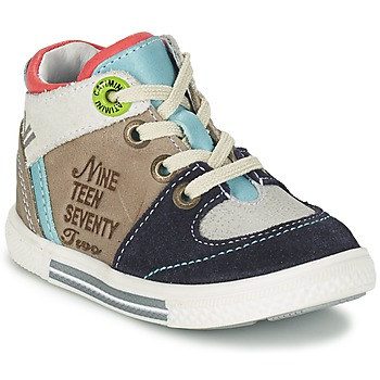 Shoes Boy Hi top trainers Catimini PIMENT Grey / TURQUOISE