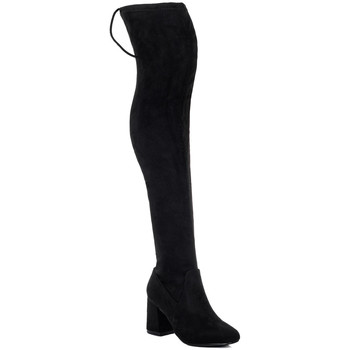 Shoes Women High boots Spylovebuy SLEEK Lace Up Flared Block Heel Thigh Boots - Black Suede Style Black