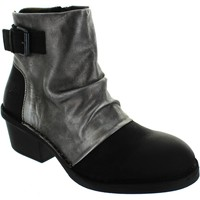 Shoes Women Ankle boots Fly London dape womens black zip up medium heel two tone leather ankle boo Black/Ant Silver
