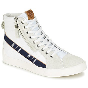 Shoes Men Hi top trainers Diesel D-STRING PLUS White / Medieval / BLUE