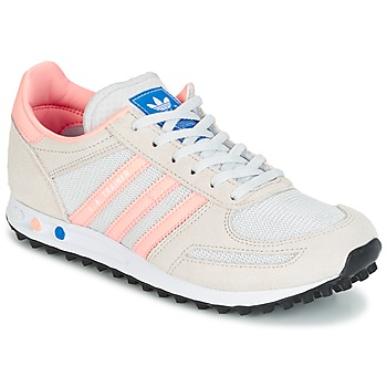 Shoes Children Low top trainers adidas Originals LA TRAINER J White / Pink