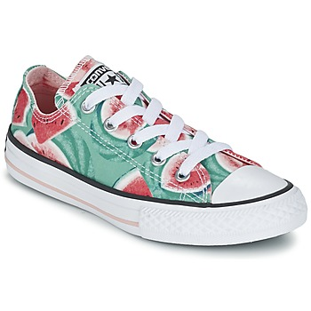 Shoes Girl Low top trainers Converse CHUCK TAYLOR ALL STAR WATERMELON OX Pink / Green / White