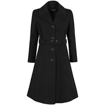Clothing Women Duffel coats De La Creme Anastasia-Green Womens Winter Cashmere Belted Coat Black
