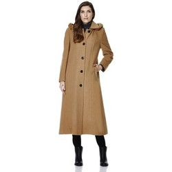 Clothing Women Duffel coats De La Creme Anastasia-Womens Winter Cashmere Hooded Coat Grey