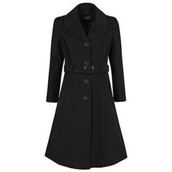 Clothing Women Duffel coats De La Creme Anastasia-Womens Winter Cashmere Hooded Coat Black