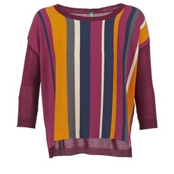 Clothing Women jumpers Benetton OVEZAK BORDEAUX / Multicoloured