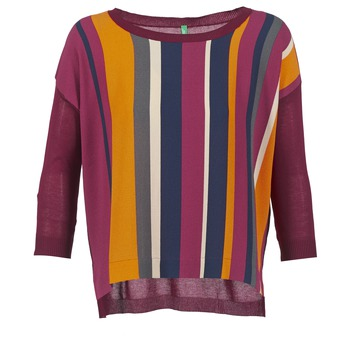 Clothing Women Jumpers Benetton OVEZAK Bordeaux / Multicolour