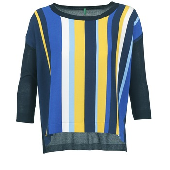 Clothing Women jumpers Benetton OVEZAK Blue / Yellow / White