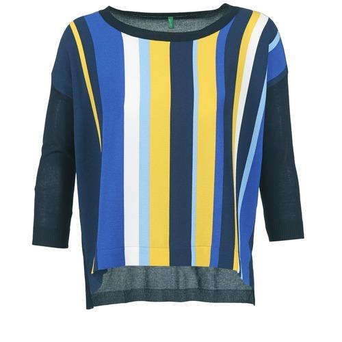 Clothing Women jumpers Benetton OVEZAK Blue / Yellow / White