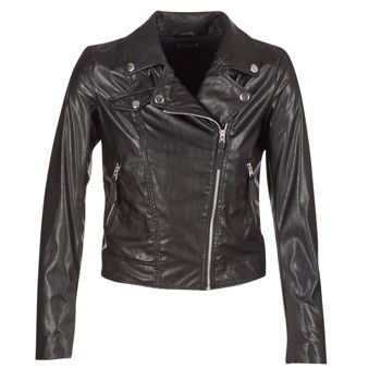 Clothing Women Leather jackets / Imitation leather Benetton FAJOLI Black