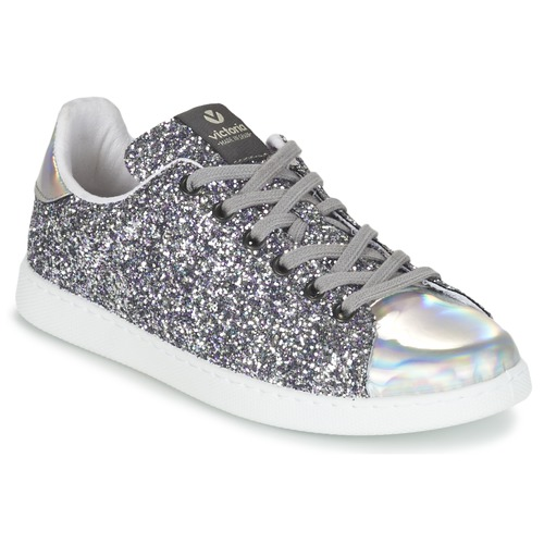 Shoes Women Low top trainers Victoria DEPORTIVO BASKET GLITTER Silver