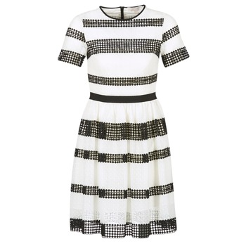 Clothing Women Short Dresses MICHAEL Michael Kors GRAPHIC CR STRIPE DRS Black / White