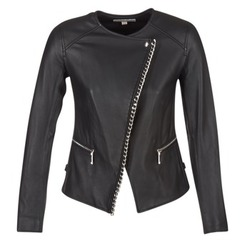Clothing Women Leather jackets / Imitation leather MICHAEL Michael Kors CHAIN FRONT BIKER Black