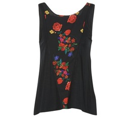 Clothing Women Tops / Sleeveless T-shirts Desigual RICOLUEO Black / Red