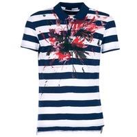 Clothing Men short-sleeved polo shirts Desigual RELIRA White / Marine / Red