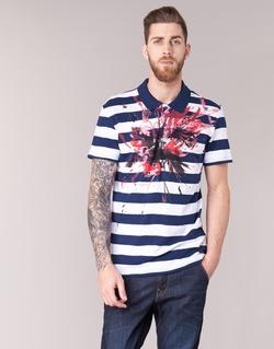 Clothing Men short-sleeved polo shirts Desigual RELIRA White / MARINE