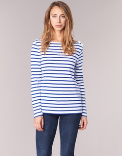 Clothing Women Long sleeved tee-shirts Petit Bateau FIX White / Blue