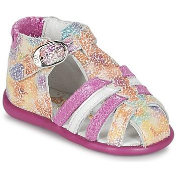 Shoes Girl Sandals Babybotte GUPPY Pink / Multicoloured
