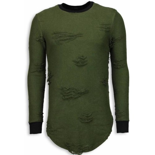 Clothing Men Sweaters Justing Destroyed Look Long Fit Green