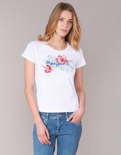 Clothing Women short-sleeved t-shirts Pepe jeans AMBER White