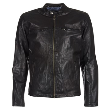 Clothing Men Leather jackets / Imitation leather Pepe jeans LENNON Black