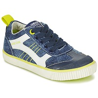 Shoes Boy Low top trainers Geox J KIWI B. J Marine / Citron