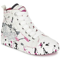 Shoes Girl Hi top trainers Geox J CIAK G. C White / Pink