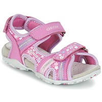 Shoes Girl Outdoor sandals Geox J S.ROXANNE A Pink
