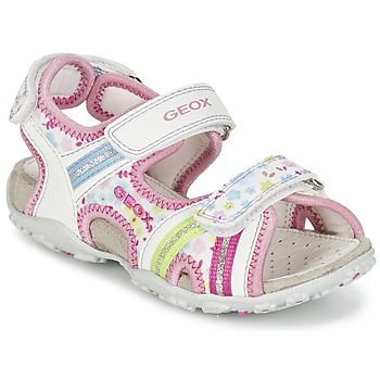 Shoes Girl Outdoor sandals Geox J S.ROXANNE A White / Pink