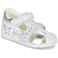 Shoes Girl Sandals Geox B KAYTAN G. C White / Silver