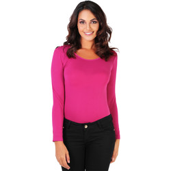Clothing Women Bodysuits Krisp Long Sleeved Bodysuit {Cerise} Pink