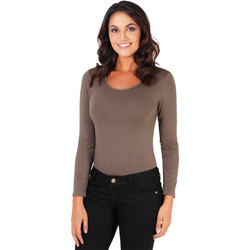 Clothing Women Bodysuits Krisp Long Sleeved Bodysuit {Mocha} Brown