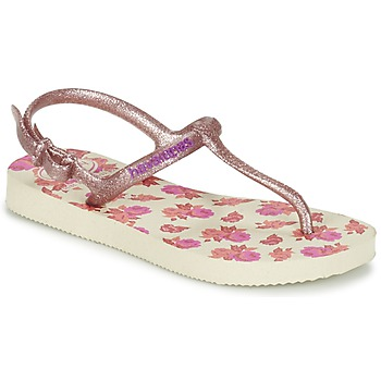 Shoes Girl Flip flops Havaianas KIDS FREEDOM PRINT Beige / Pink