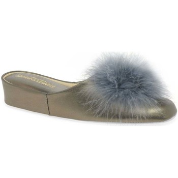 Relax Slippers  PomPom II Leather Slipper  womens Slippers in Silver