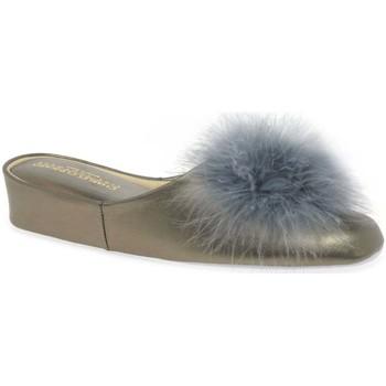 Shoes Women Slippers Relax Slippers Pom-Pom II Leather Slipper Silver