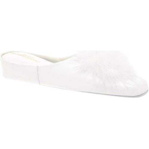 Shoes Women Slippers Relax Slippers Pom-Pom II Leather Slipper white