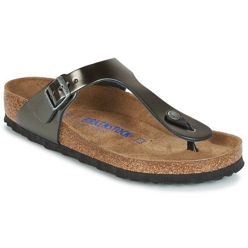Shoes Women Flip flops Birkenstock GIZEH SFB Grey / Metallic