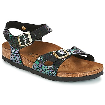 Shoes Children Sandals Birkenstock RIO Black / Brillant / Serpent