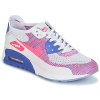 Shoes Women Low top trainers Nike AIR MAX 90 FLYKNIT ULTRA 2.0 W White / Blue / Pink