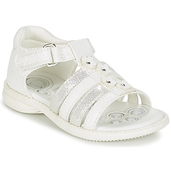 Shoes Girl Sandals Chicco CAROTA White / Silver