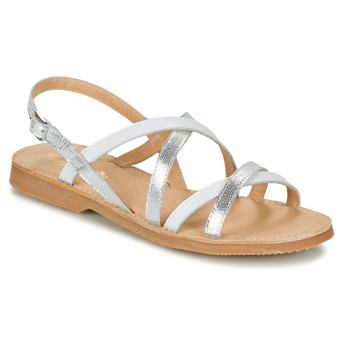 Shoes Girl Sandals Citrouille et Compagnie GENTOU White / Silver